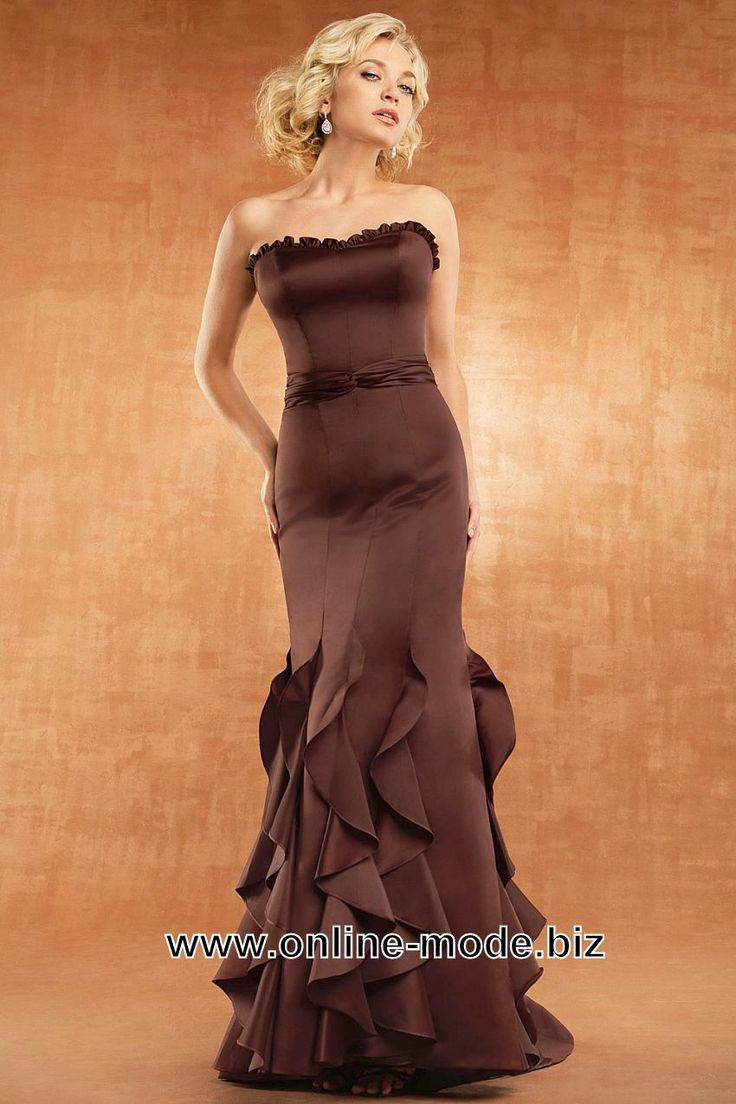 Fishtail Linie Abendkleid Bodenlang in Bronze Braun von www.online-mode.biz