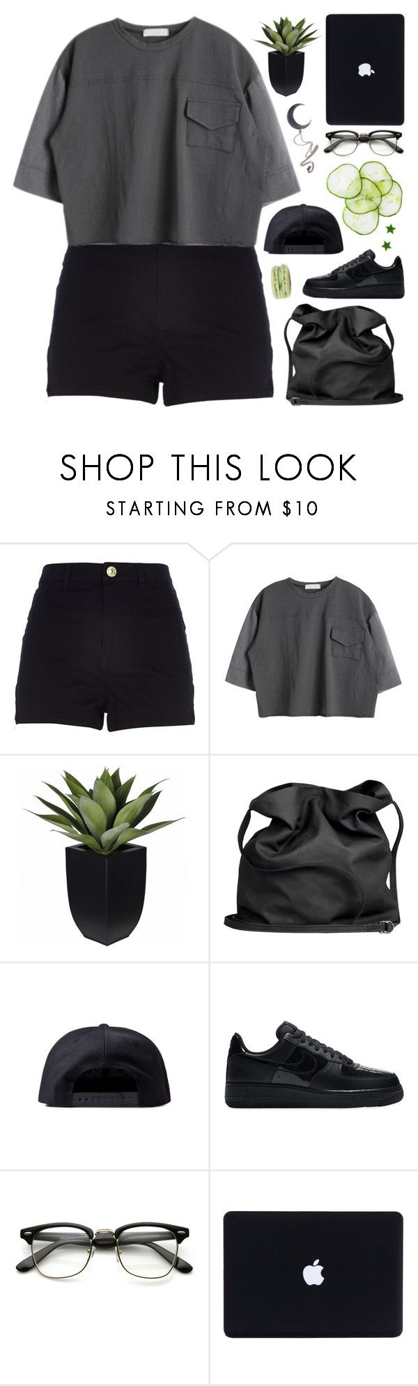 """[] JANELLE"" by korekara ❤ liked on Polyvore featuring River Island, Ann Demeulemeester, Black Scale, NIKE and Killstar"
