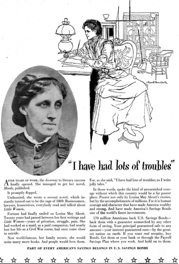 David Stone Martin US SAVINGS BONDS Louisa May Alcott LITTLE WOMEN 1957 Print Ad #USSavingsBonds