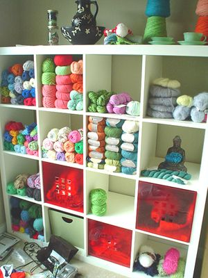 yarn organization. seriously. it's taking over my house. and I already have this bookcase!