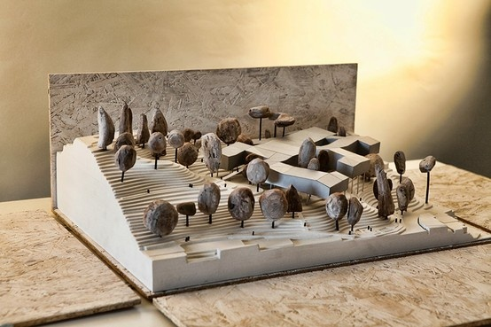 Architecture mock-up made of wood, paper, cardboard, plaster by Yasmina Tous. http://www.yasminatous.com/