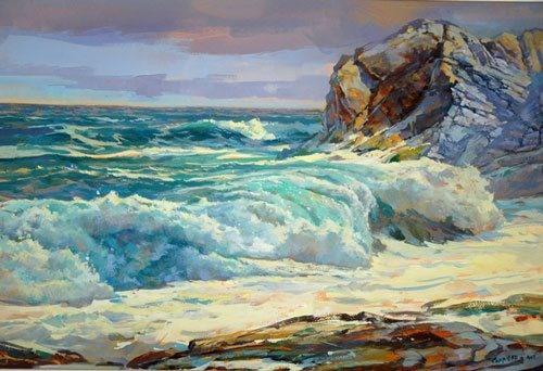 Water crashing on the beach, painting
