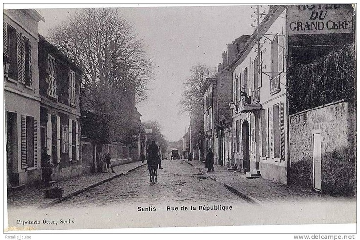 "(Chapter 1) After Frances scotched the idea of Robert and me going to Strasbourg, I offered to take Robert to Senlis. ""Senlis is a good place and we can stay at the Gran Cerf and take a hike in the woods,"" I told him (14). Here's a postcard from my last stay in Senlis. I love that stag's head mounted over the door of the Gran Cerf Hotel on the Rue de la Republique. Most of the stupid American tourists who go there don't know that ""Gran Cerf"" means ""big stag"" in French."