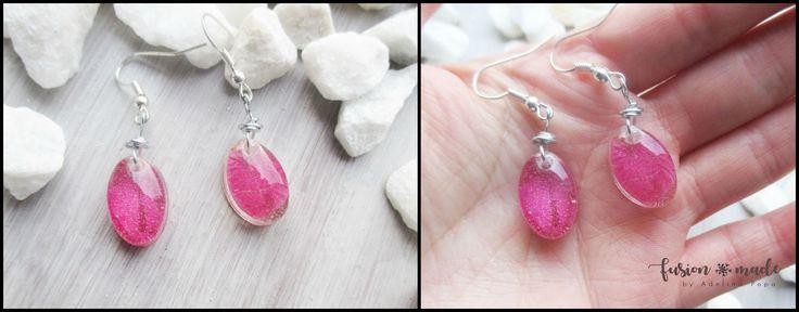 Resin earrings with natural pressed rose petal .