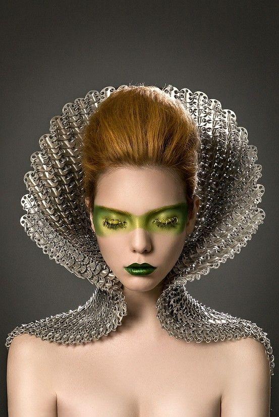 avant-garde, future girl, futuristic fashion, hairstyle, futuristic make up, fashion art, space visitor, metallic, green lips, chrome by XEl...