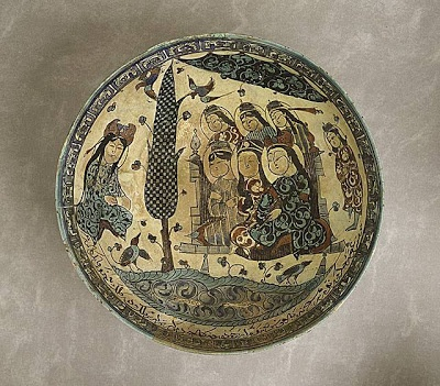 Bowl Iran, Kashan Bowl, 1187/Muharram, 538A.H. Ceramic; Vessel, Fritware, underglaze-painted and overglaze-enameled (mina'i)