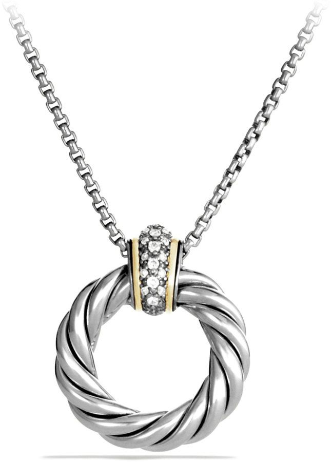 3959 best fine jewelry necklacespendants images on pinterest david yurman cable classics small pendant with diamonds and gold on chain aloadofball Image collections