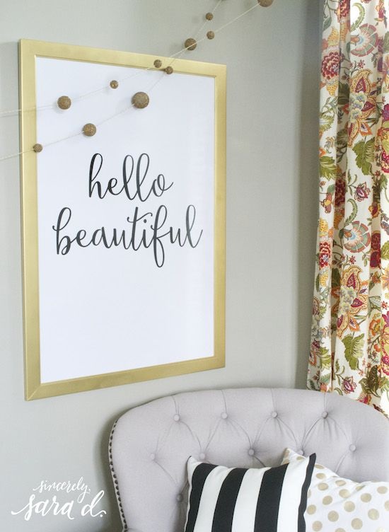 """FREE """"hello beautiful"""" printable - love this!  (And it comes in three different sizes!)"""