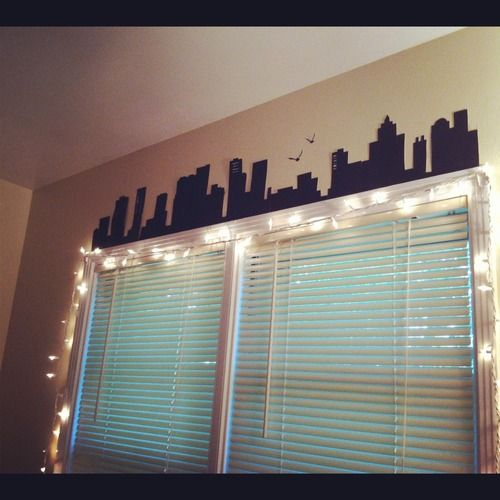 I love this Idea! I would totally do that above my window & also have the Batman Symbol above it!!!