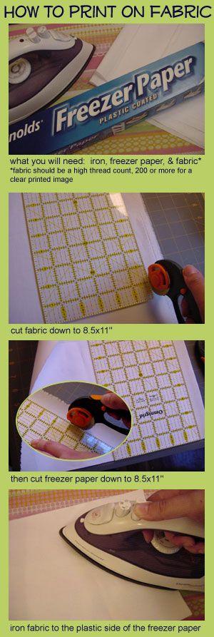 Printing On Fabric with Freezer Paper fricken genius