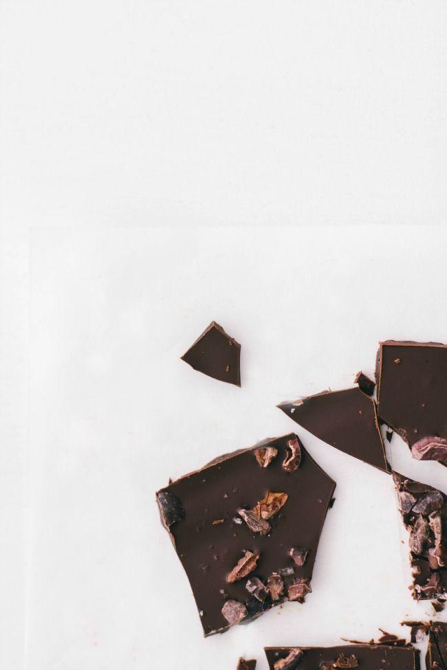 chocolate bark with cacao nibs + fleur de sel