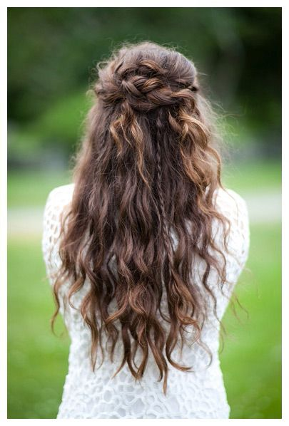 half up half down braided wedding hair ~ we ? this! moncheribridals.com #longcurlyweddinghair