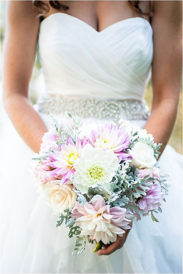 Dahlia bridal bouquet in pink and gray // Photo by Alexandra Grace Photography // Flowers from LeMera Gardens and designed by Jessica Ormond Events www.jormondevents.com
