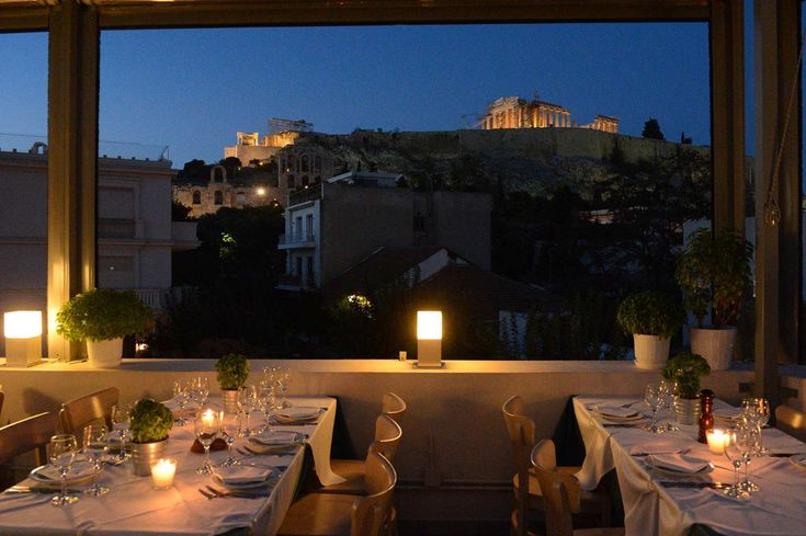 Strofi Restaurant, with tables below the stars on a splendid Acropolis-view roof terrace, Strofi is the perfect choice for a romantic dinner