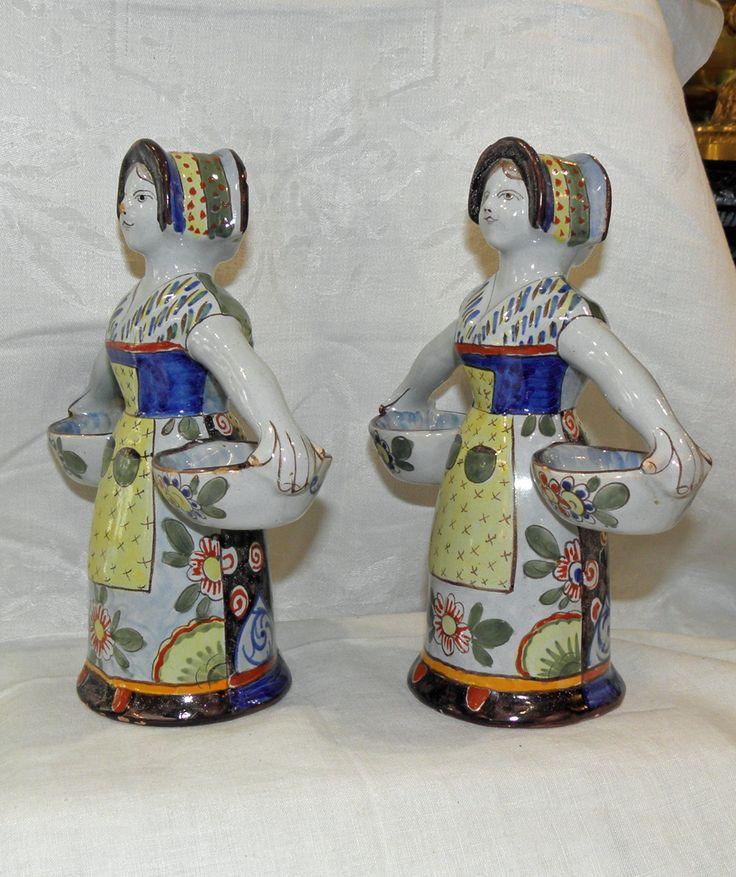 St-clément.paire Ancienne Double Salières/poivrières.faïence.dite Bonne-femmes, Antiquités La Légende, Proantic