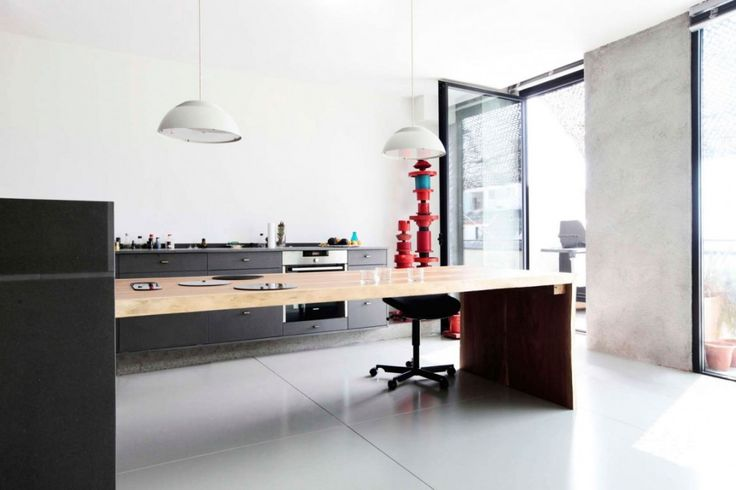 Loft: Spacious Pallars Loft Interior with Minimalist Style in Barcelona, Spain by KAYSERSTUDIO, Modern Minimalist Pallars Loft Kitchen Design showing Wooden Island and Gray Cabinetry and Two Pendant Lamp also White Wall Paint Color and Ceramic Floor Tile