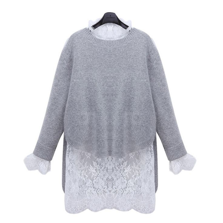 High Quality Fashion O Neck Lace Long Sleeve