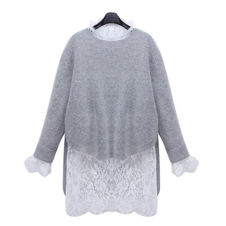 High Quality Fashion O Neck Lace Long Sleeve