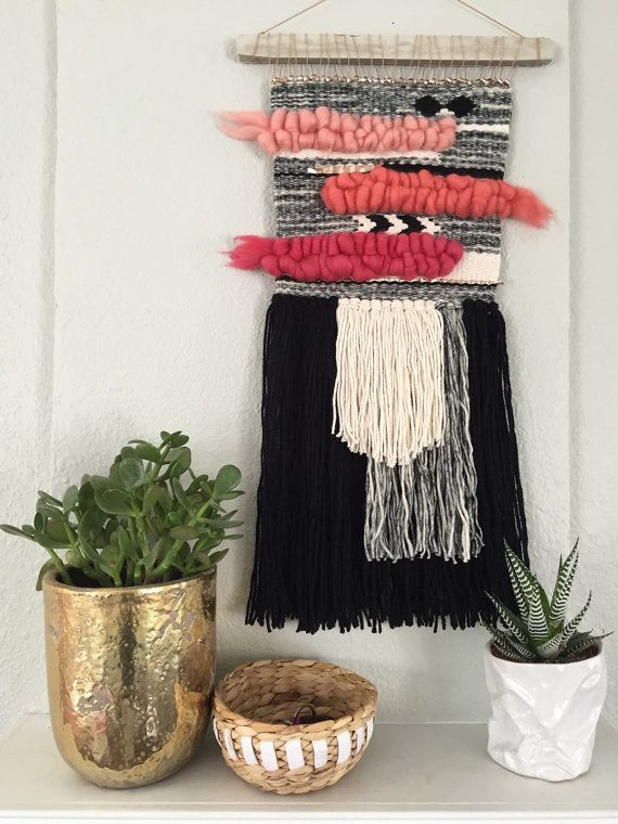 Gradient Pink Woven Wall Hanging / Weaving by WildwoodandFirth