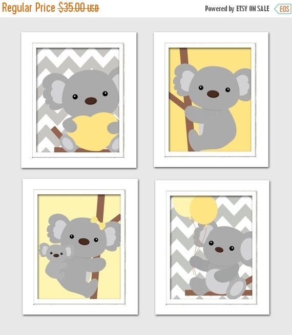 20% OFF SALE Yellow and gray nursery, Nursery Koala Art, Koala baby shower, Grey and Yellow Nursery, Koala Nursery, Set of 4 8x10