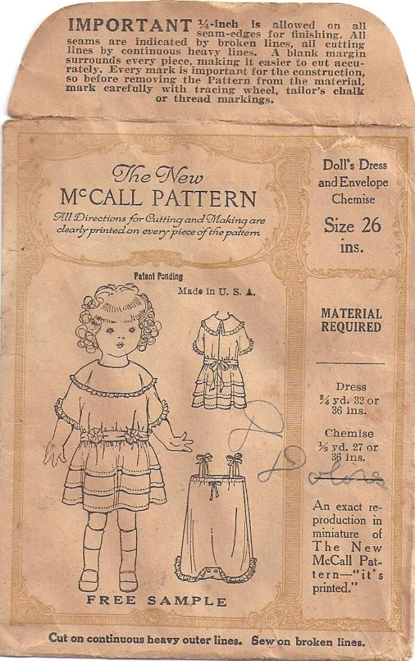 Vintage McCALL Sewing Pattern For a Doll Dress & Chemise
