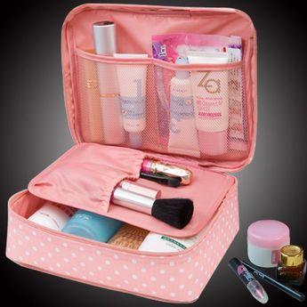 Neceser Rushed Floral Nylon Zipper New Women Makeup bag Cosmetic bag Case Make…