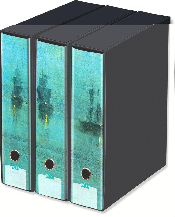 KAOS Lever Arch Files 2ring Binders with slipcase, Spine 8 cm, 3 pcs Set  - NOCTURNAL, JAMES WHISTLER - 3 pcs Set Dimensions: 26.8x35x29 cm