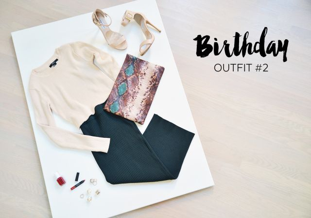 Birthday Lookbook Outfit #2: Forever 21 Knit Crop Top & Skirt, Zara Clutch, Steve Madden Nude Pumps and NARS Cruella Velvet Matte Lips