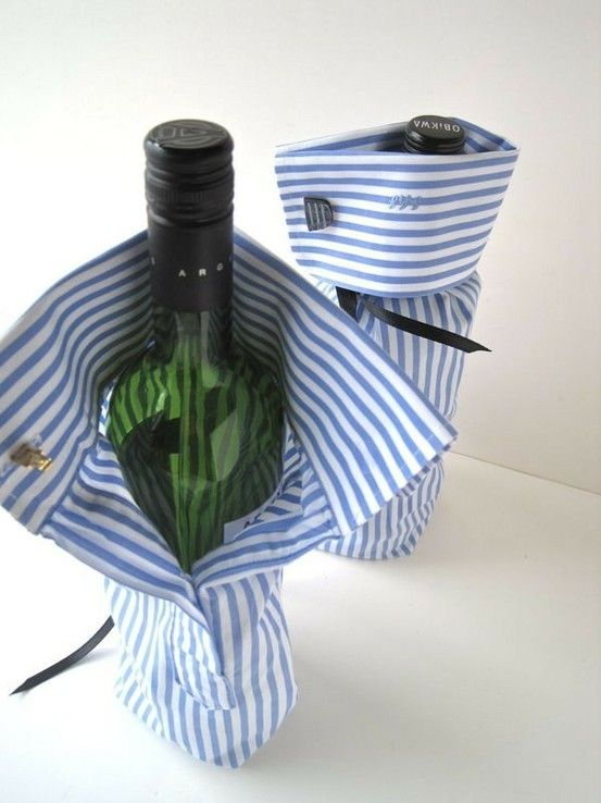 #DIY grown up gift: thrift store button up shirt, cut off sleeves, sew up bottom & insert bottle of wine or cider!
