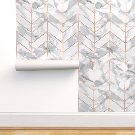 Rose Gold Wallpaper Carrera Marble Rose Gold By Willowlanetextiles Custom Printed Removable Self Adhesive Wallpaper Roll By Spoonflower Rose Gold Wallpaper Herringbone Wallpaper Carrera Marble