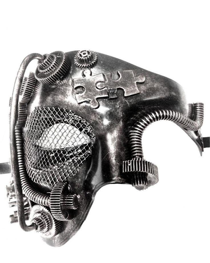 Steampunk Style Silver Phantom Half Face Men Masquerade Mask