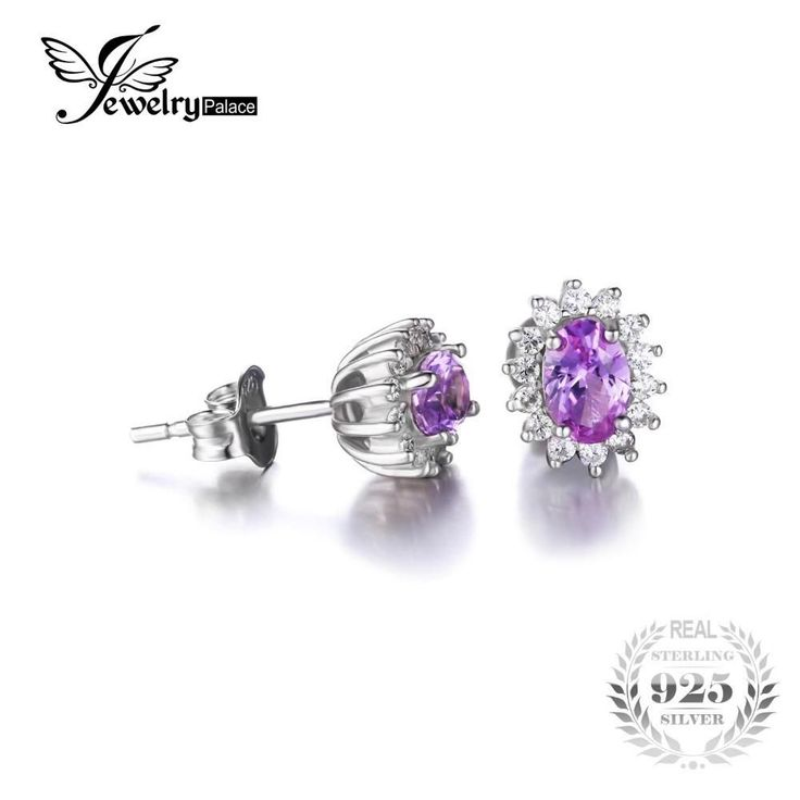 Jewelrypalace Oval 1.5ct Princess Diana William Kate Middleton's Created Alexandrite Sapphire Stud Earrings 925 Sterling Silver