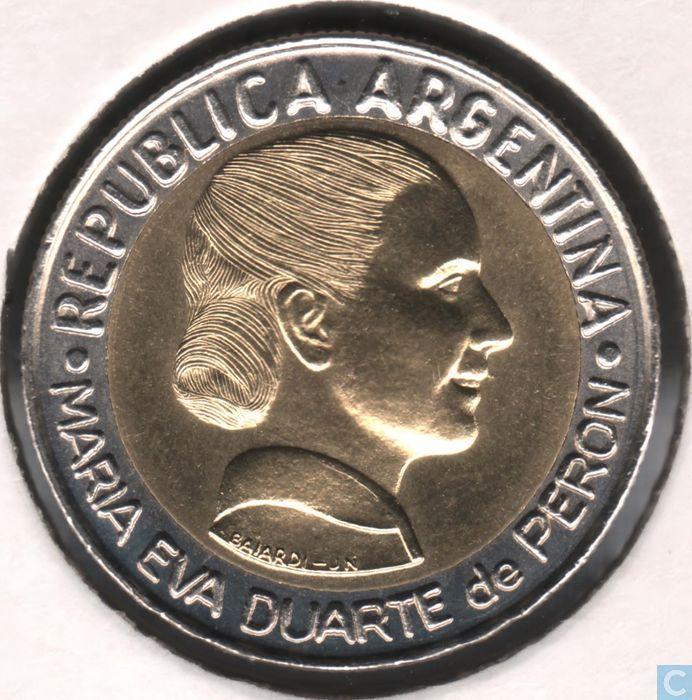 "Coins - Argentina - Argentina 1 peso 1997 ""50th Anniversary - Women's Suffrage"""
