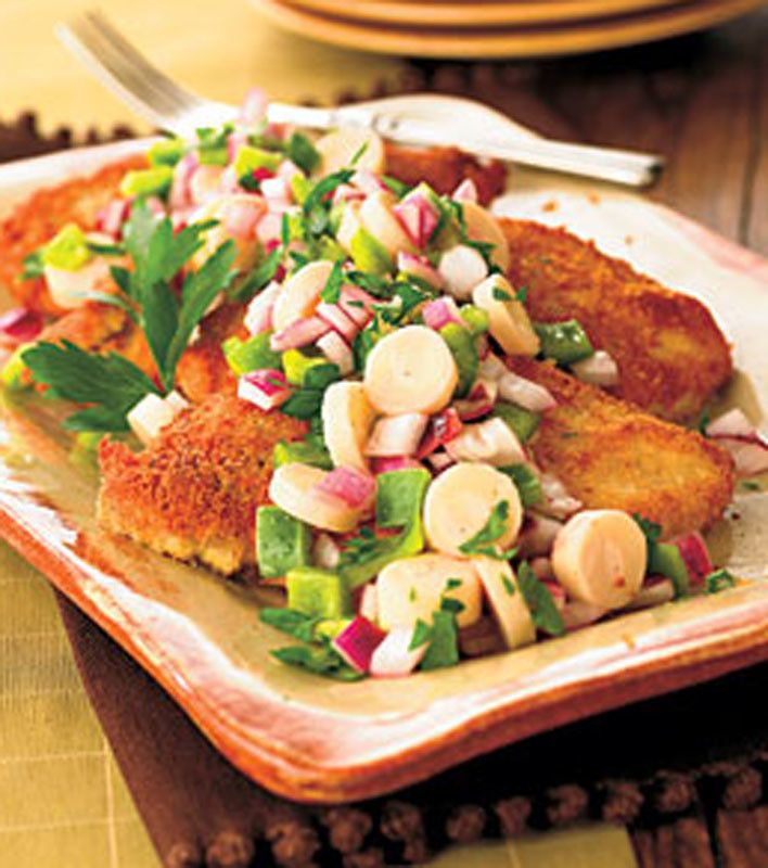 Crisp Chicken with Hearts of Palm Salad  I love hearts of palm! I will be trying this.
