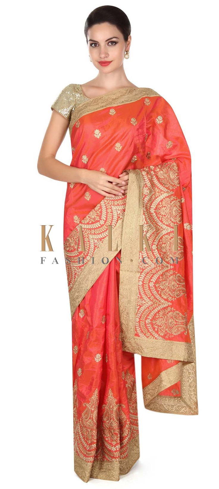 Buy this Coral saree adorn in zari in paisley motif embroidery only on Kalki