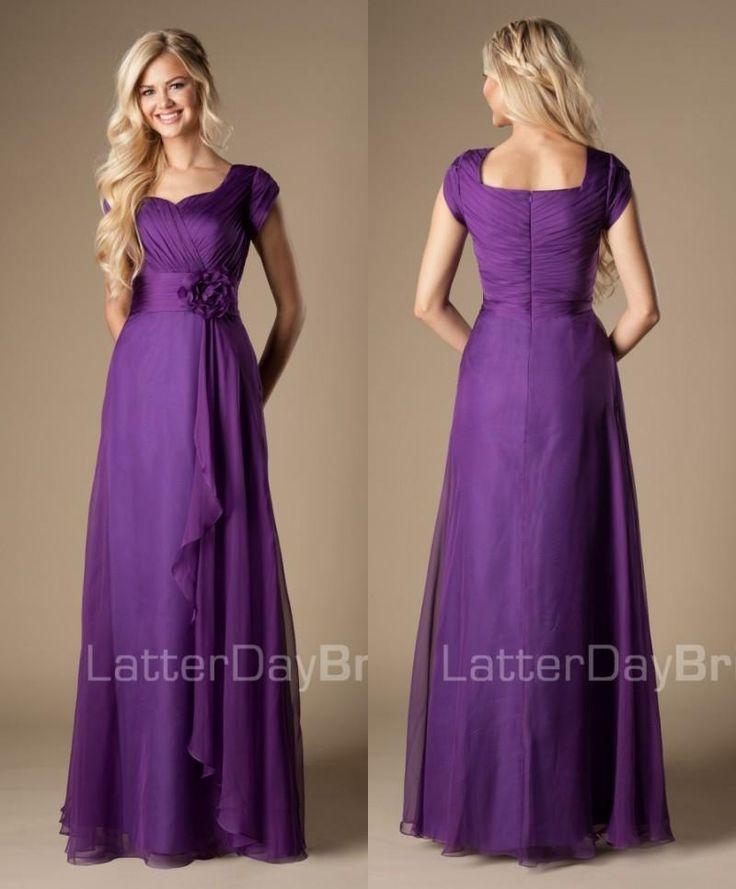 Simple Elegant Tea Length Chiffon Cap Sleeve Wedding: Best 20+ Purple Bridesmaid Gowns Ideas On Pinterest