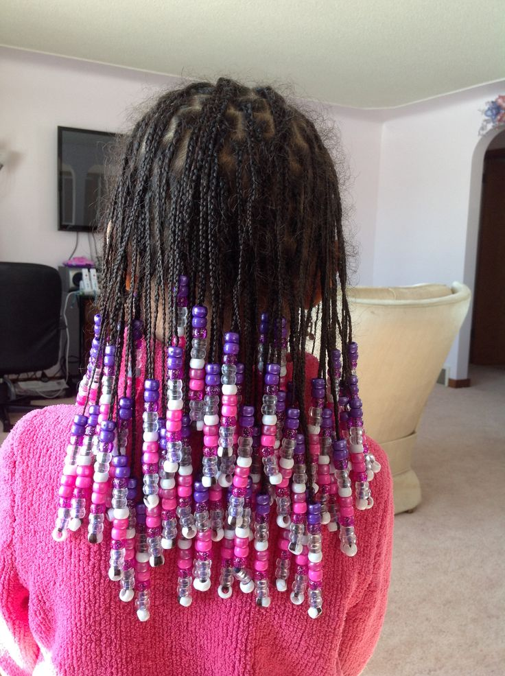 Black Girl Hairstyles 2016: Savannah- Box Braids, Back View- Purple, Pink, Clear And