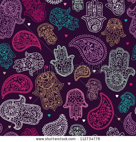 stock vector : Seamless hand of fatima paisley background pattern in vector