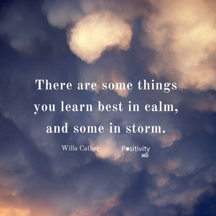 There are some things you learn best in calm and some in storm. #WillaCather #positivitynote #upliftingyourspirit