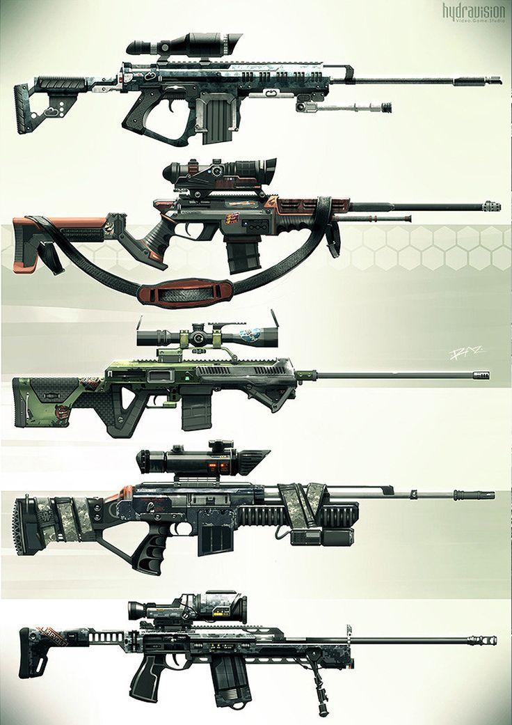 Snipers - Weapons concept, Vincent Filipiak (RAZ) on ArtStation at http://www.artstation.com/artwork/snipers-weapons-concept