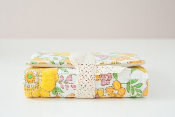 Small Vintage Fabric Journal with Unlined Pages. Yellow Floral Fabric Notebook. Personal Diary. Gift for Her. Valentines Day Gift
