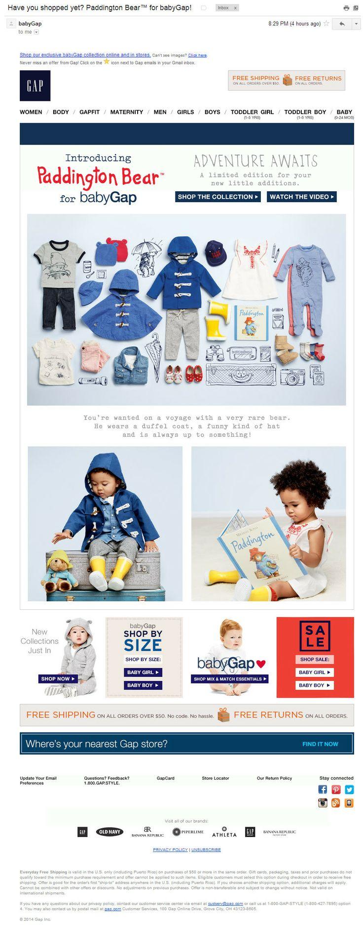 babyGap: анонс специальной коллекции (31/01/2014). Письмо для родителей, которые читали о медвежонке Паддингтоне в детстве и хотят поиграть в него сейчас. Атмосферу создают книжные иллюстрации и фотографии детей в одежде Паддингтона.
