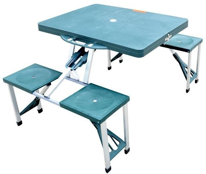 Folding Picnic Table Portable Camping Garden 4 Seats Camp Suitcase Party Green #Unbranded