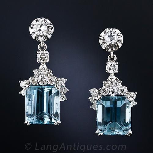 : Emerald-Cut Aquamarines and Diamonds earrings. Antique design. Beautiful and feminine. SLVH ❤❤❤❤