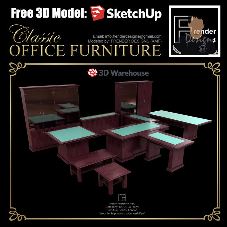 Trend  CLASSIC OFFICE FURNITURE Free Sketchup D Models WF Sketchup Vray