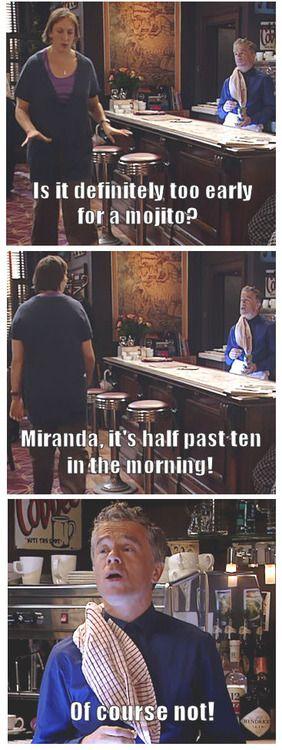 Is it definitely too early for a mojito? - Miranda Hart, James Holmes