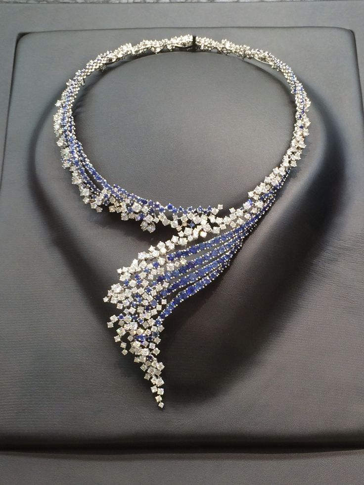 Boucheron's Rivage necklace is a splash of sapphires and diamonds in a design reminiscent of Boucheron's Vague tiara, circa 1920