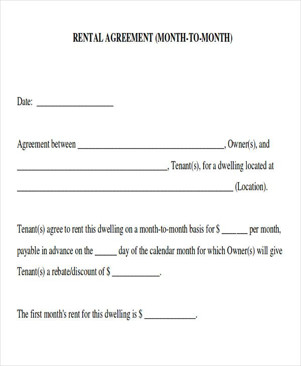Monthly Room Rental: Month To Month Room Rental Agreement Form Sample5 In 2020