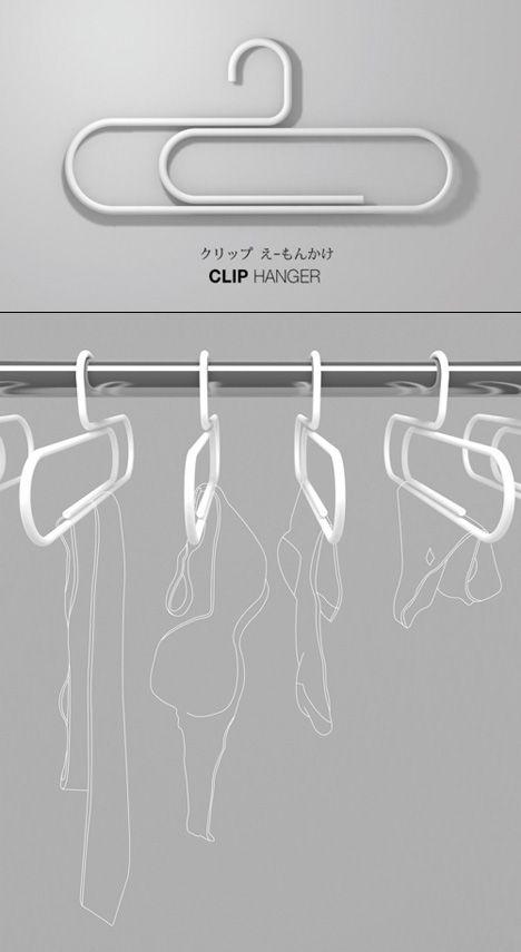 We love giant paperclips, so these are right up our alley! - Paperclip Hangers / 내가 알기로 철제 옷걸이(Hanger)의 가장 큰 문제는 옷에 주름이 지고, 젖은 옷일 경우엔 늘어날 수도 있다는 것이다. 단지 디자인으로 해결 될 문제가 아니다.