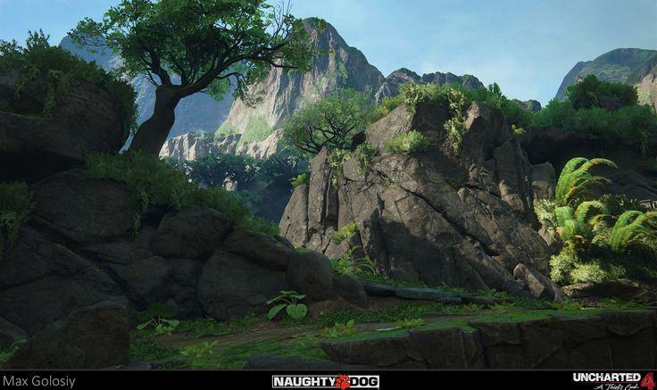 Artstation Uncharted 4 Jungle Rocks Max Golosiy
